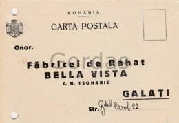 "Romania - Galati - Advertise - Fabrica De Rahat "" Bella Vista "" - 1918-1948 Ferdinand, Charles II & Michael"