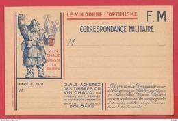 Correspondance Militaire * LE VIN DONNE L'OPTIMISME - Le VIN CHASSE LA GRIPPE ** APOLOGIE Du VIN ** 2 SCANS.* RARE * - Patriotiques