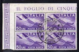 Q53 - REPUBBLICA 1957 , Posta Aerea Democratica Stelle 50 Lire N. 154 Quartina Usata. - 6. 1946-.. Republic