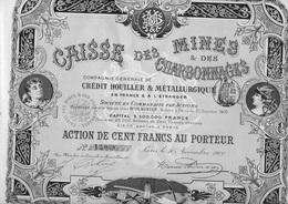 CAISSE DES MINES ET DES CHARBONNAGES -TRES BELLE ACTION ILLUSTREE  -1900 -RARE - Mines