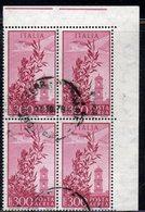 Q55 - REPUBBLICA 1955 , Posta Aerea  Campidoglio Stelle 300 Lire N. 149 Quartina Usata. - 6. 1946-.. Republic