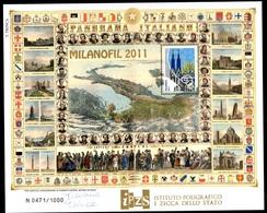 FOGLIETTO COMMEMORATIVO MILANOFIL 2011 IN FOLDER - AUTOGRAFATO DALL'AUTRICE - PERFETTO - 6. 1946-.. Repubblica