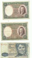 3 Billets Espagne 1 De  500 Petas 1979 Et 2 De 25 Pesetas 1931 - [ 2] 1931-1936 : Repubblica