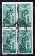Q60 - REPUBBLICA 1971 , Posta Aerea  Campidoglio Stelle 100 Lire N. 159 Quartina Usata. - 6. 1946-.. Republic