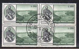 Q62 - REPUBBLICA 1964 , Posta Aerea  Verrazzano N. 157 Quartina Usata. - 6. 1946-.. Republic
