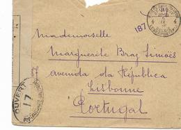 1918 Rare Lettre En Franchise Militaire Controle Postal Militaire Vers Le PORTUGAL  Envoyée Du FRONT - E.M. Armée Belge - Guerra 14 – 18