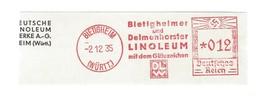 Deutschtes Reich AFS - BIETIGHEIM, Bietigheimer Und Delmenhorster LINOLEUM 1935 - Machine Stamps (ATM)