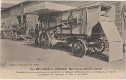CPA  MOISSONNEUSE BATTEUSE  38  VVE JOURDAN ET COASSE MONSTEROUX MILIEU - Tractors