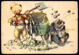 ÄLTERE POSTKARTE TEDDY BÄR ESSEN SUPPE HUMOR PECH Bear Ours Humour Cpa Ansichtskarte Postcard AK - Animali Abbigliati