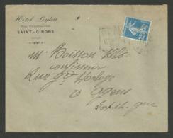 """ARIEGE / """" HOTEL LEYTOU """" à  SAINT GIRONS  / Enveloppe 1924 - Marcophilie (Lettres)"""