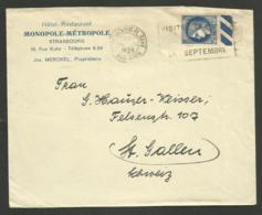 """"""" HOTEL RESTAURANT MONOPOLE METROPOLE """" à  STRASBOURG / Enveloppe 1938 >>> SUISSE - Marcophilie (Lettres)"""