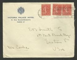 """"""" VICTORIA HOTEL """" à  PARIS VIème / Enveloppe 1934 - Marcophilie (Lettres)"""