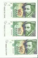 3 Billets Espagne 1000 Pesetas 1992 Etat Neuf - [ 2] 1931-1936 : Repubblica