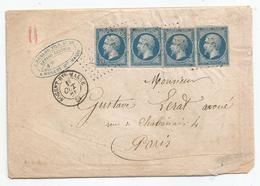 - MARNE - NOGENT - PC.2281 S/N°14x4 + Càd T.15 - 1861 - 1853-1860 Napoléon III.
