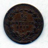GERMAN STATES - BADEN, 1/2 Kreuzer, Copper, 1829, KM #188 - [ 1] …-1871 : Duitse Staten