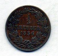 GERMAN STATES - BADEN, 1/2 Kreuzer, Copper, 1856, KM #230 - [ 1] …-1871 : Duitse Staten