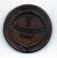 GERMAN STATES - BADEN, 1 Kreuzer, Copper, 1807, KM #141 - [ 1] …-1871 : Duitse Staten