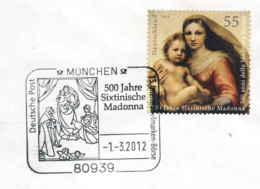 929  La Madone Sixtin De Raphaël: Oblit. Temp. D'Allemagne, 2012 - Madonna Sistina, Raffaello - Madones