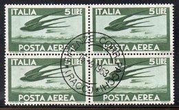 Q63 - REPUBBLICA  , Posta Aerea  5 Lire Stelle Quartina Usata. - 6. 1946-.. Republic