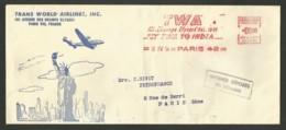 """EMA """" Trans World Airlines - TWA """"  Enveloppe Illustrée PARIS / 1954 - Marcophilie (Lettres)"""