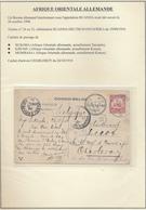 BELGIAN CONGO GEA BORDER MAIL COURRIER FRONTALIER NYA LUKEMBA 26.08.1910 RUANDA 19.09.10 TO CHARLEROI NICE TRANSIT MARKS - Belgisch-Kongo