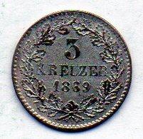 GERMAN STATES - BADEN, 3 Kreuzer, Silver, 1869, KM #246 - [ 1] …-1871 : Duitse Staten