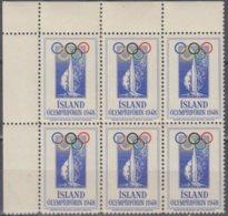 F-EX9775  ISLANDIA ICELAND ISLAND 1948 OLYMPIC CINDERELLA LONDON ENGLAND UK. BLOCK 6 MNH. - Islandia