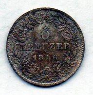 GERMAN STATES - BADEN, 6 Kreuzer, Silver, 1846, KM #210 - [ 1] …-1871 : Duitse Staten