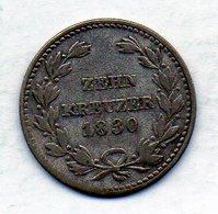 GERMAN STATES - BADEN, 10 Kreuzer, Silver, 1830, KM #192 - Monedas Pequeñas & Otras Subdivisiones