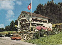 "SUISSE .NIEDERSCHERLI.  RARETÉ. HOTEL TEA-ROOM "" PINGUIN "".. ANIMATION ET VOITURE DYNA  PANHARD EN STATIONNEMENT - BE Berne"