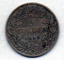 GERMAN STATES - BADEN, 1/2 Gulden, Silver, 1845, KM #209 - Monedas Pequeñas & Otras Subdivisiones