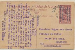 GEA RUANDA URUNDI PPS 1918 ISSUE STIBBE 12 VIEW 7 FROM USUMBURA 1920 TO BELGIUM - Interi Postali