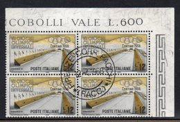Q68 - REPUBBLICA 1956 , Sassone 12 Lire N. 794 Quartina Usata. Cortina - 1946-60: Used