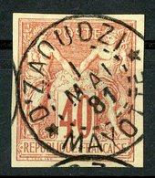 "N°27 COLONIES GENERALES 40ct Rouge Orange Type Sage. Oblitération ""D'ZAOUZI MAYOTTE"". TB - Sage"