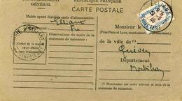Carte De Ravitaillement, Mairie De ELLIANT  (Finistère) - Cachet à Date Du 19 Août 1946 - Marcophilie (Lettres)