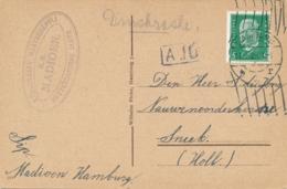 Reich / Nederland - 1929 - Ansicht Stella Haus Verzonden Van S.S. MADIOEN Uit Hamburg Naar Sneek - Rotterdamsche Lloyd - Lettres & Documents