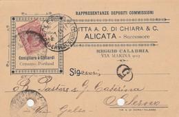 Reggio Calabria. 1914.  Annullo Guller, Su Cartolina Pubblicitaria ... RAPPRESENTANZA DEPOSITI COMMISSIONI ... - Storia Postale