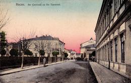 BACAU : STR. CENTRALA Cu STR. TAVERNEI - HOTEL NATIONAL / TIPOGRAFIE / LEGATORIE DE CARTI ~ 1910 - '915 (ad476) - Roumanie