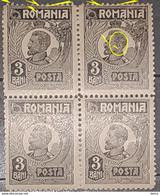 """Errors Romania 1920, King Ferdinand 3b, BLOC X4, With Printed Point On Letter """"M"""" With Broken Corder Frame Mnh - Variedades Y Curiosidades"""