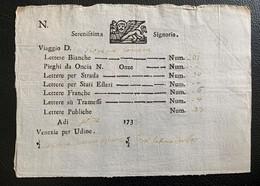 60112 -  Italie Bon De Transport Serenissima Signoria  Venezia Per Udine 1733 - Ohne Zuordnung