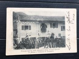 INAUGURAZIONE DELLA BANDIERA DELLA SOCIETA' OPERAIA DI ALESSO E COMUNE DI TRASAGHIS  (UDINE) 1915 - Udine
