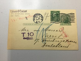 GÄ30616 USA Ganzsache Stationery Entier Postal UX 27 From New York To Kassel Postage Due!! - 1921-40