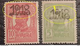 """Errors Romania 1918 King Charles I, With Surcharge """"1918"""" Loop At """"9"""" And 8,   Unused - Variedades Y Curiosidades"""