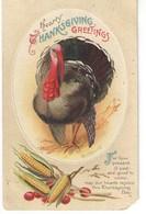Carte Postale Ancienne De Thanks Giving /Hearty Greetings/DINDON Et Maïs/ Canada / 1915     CFA37 - Thanksgiving