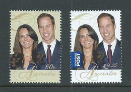 Australia 2011 Prince William Royal Wedding Set 2 MNH - Mint Stamps