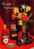 Hartelijk Gefeliciteerd Henkes Alcohol Bottle Cigars Old Camera Postcard - Gruss Aus.../ Grüsse Aus...