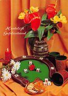 Hartelijk Gefeliciteerd Flowers In Vase Candle Postcard - Gruss Aus.../ Grüsse Aus...