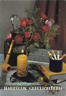 Hartelijk Gefeliciteerd Candle Cigarettes Pipe Flowers In Vase Postcard - Gruss Aus.../ Grüsse Aus...