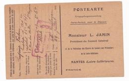 Carte En Franchise Militaire - L. Jamin - Secours Aux Prisonniers - Nantes - 1918 - Marcophilie (Lettres)