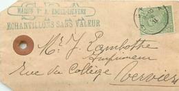 Belgique. TP 137  Etiquette Echantillon Sans Valeur  Spa > Verviers  Millésime Absent - 1915-1920 Albert I